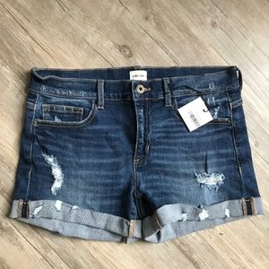 SneakPeak Distressed Mid Rise Jean Shorts